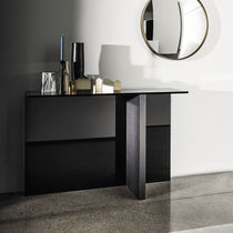 Contemporary sideboard table / wooden / lacquered glass / rectangular