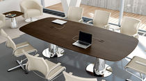 Contemporary boardroom table / wooden / oval