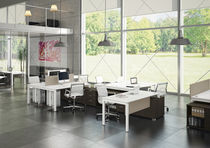 Workstation desk / wooden / steel / contemporary