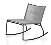 Contemporary fireside chair / steel / rocker / commercial
