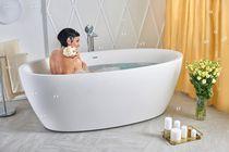 Free-standing bathtub / oval / stone / deep
