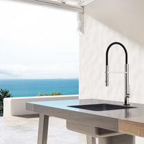 Stainless steel mixer tap / outdoor / 1-hole / with pull-out spray