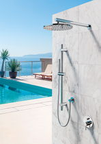 Shower mixer tap / built-in / stainless steel / outdoor