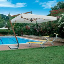 Offset patio umbrella / commercial / wood / aluminum