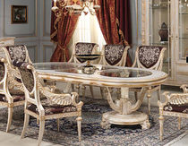 Louis XVI style table / glass / oval