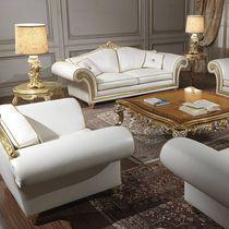 Classic sofa / leather / 2-seater / white