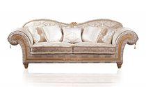 Classic sofa / fabric / 2-seater / brown