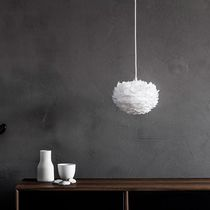 Pendant lamp / contemporary / paper / feather
