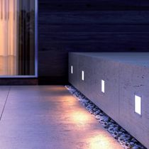 Recessed wall light fixture / LED / square / outdoor
