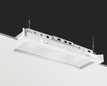 Recessed ceiling light fixture / compact fluorescent / linear / frosted glass
