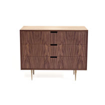 Contemporary chest of drawers / oak / walnut