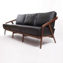Contemporary sofa / leather / oak / walnut