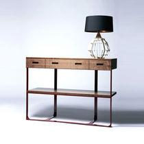 Contemporary sideboard table / walnut / white oak / steel