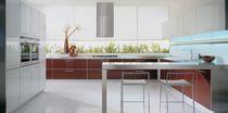 Contemporary kitchen / aluminum / glass / laminate