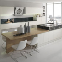 Contemporary kitchen / laminate / wood veneer / island