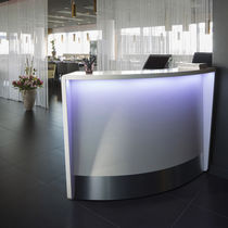 Modular reception desk / wooden / illuminated