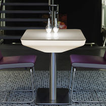 Contemporary bistro table / glass / rectangular / commercial