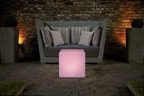 Contemporary side table / composite / cube-shaped / commercial