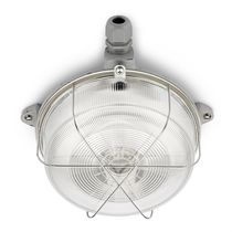 Traditional ceiling light / round / glass / iron