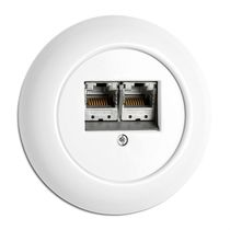 Multimedia socket / multiple / recessed / porcelain