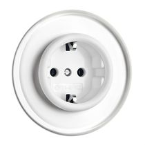 Power socket / wall-mounted / traditional / white