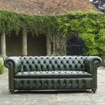 Sofa bed / Chesterfield / leather / 2-seater