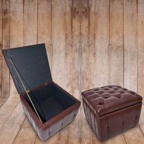 Traditional pouf / leather / with storage compartment / brown