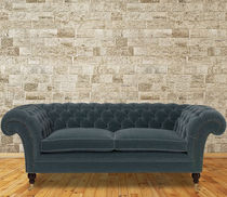Chesterfield sofa / fabric / leather / 3-seater