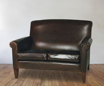 Traditional sofa / leather / 2-seater / brown