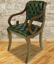 Traditional visitor chair / with armrests / upholstered / leather