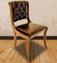 Traditional dining chair / upholstered / leather