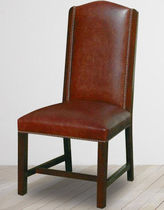 Traditional dining chair / upholstered / leather / brown