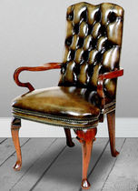 Traditional dining chair / upholstered / with armrests / leather
