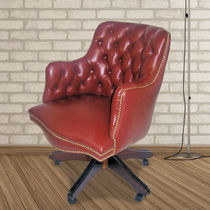 Traditional office armchair / leather / on casters / star base