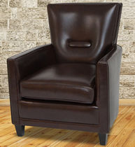 Traditional armchair / leather / club / brown