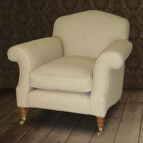 Traditional armchair / leather / on casters / beige