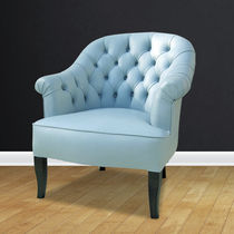 Traditional armchair / leather / crapaud / blue