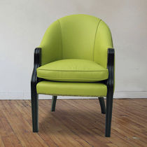 Traditional chair / upholstered / leather / green