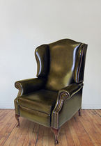 Traditional armchair / leather / reclining