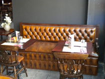 Uupholstered bistro bench / traditional / leather / commercial