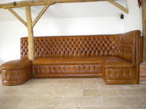 Traditional upholstered bench / leather / contract / corner