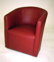 Contemporary visitor armchair / leather / red / contract