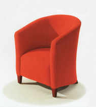 Contemporary visitor armchair / fabric / wooden / contract