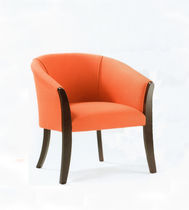 Traditional visitor chair / upholstered / fabric / wooden