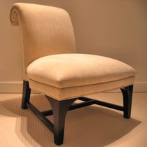 Contemporary fireside chair / fabric / wooden / contract