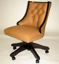 Traditional office armchair / leather / on casters / swivel