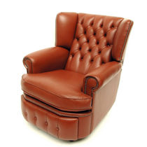 Traditional armchair / leather / wing / reclining