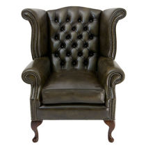 Classic armchair / leather / wing / bergere