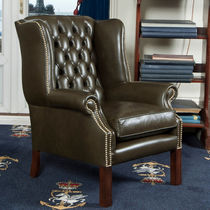 Traditional armchair / leather / wing / bergere