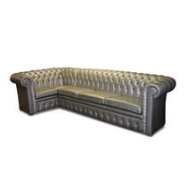 Corner sofa / Chesterfield / leather / 4-seater